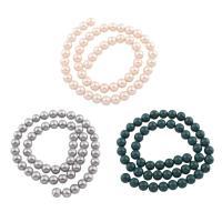 Natürliche Süßwasser Muschel Perlen, Muschelkern, rund, keine, 8mm, Bohrung:ca. 1mm, verkauft per ca. 15.5 ZollInch Strang