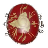 Messing Bajonettverschluss, mit Harz, flachoval, Platinfarbe platiniert, 3-Strang, rot, frei von Nickel, Blei & Kadmium, 45x34.5x13mm, Bohrung:ca. 2mm, verkauft von PC