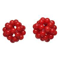 Synthetische Koralle Cluster Perlenball, rund, rot, 18mm, verkauft von PC