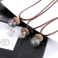 Zinklegierung Halskette, mit Getrocknete Blumen & Wollschnur & Glas, mit Verlängerungskettchen von 2lnch, antike Bronzefarbe plattiert, verschiedene Muster für Wahl & für Frau, frei von Nickel, Blei & Kadmium, 20x25mm, verkauft per ca. 15.7 ZollInch Strang
