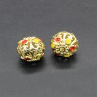 Messing Perle, rund, goldfarben plattiert, Imitation Cloisonne & Emaille & hohl, frei von Nickel, Blei & Kadmium, 14x13mm, Bohrung:ca. 1.5mm, 10PCs/Tasche, verkauft von Tasche