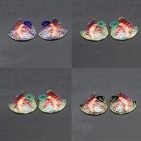 Cloisonné Anhänger, Mandarin Duck, 24 K vergoldet, keine, 28x15mm, Bohrung:ca. 1mm, 10PCs/Tasche, verkauft von Tasche