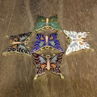 Cloisonné Anhänger, Schmetterling, 24 K vergoldet, keine, 30x27mm, Bohrung:ca. 1mm, 10PCs/Tasche, verkauft von Tasche