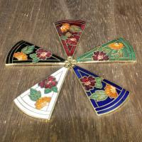 Cloisonné Anhänger, Dreieck, 24 K vergoldet, keine, 50x20mm, Bohrung:ca. 1mm, 10PCs/Tasche, verkauft von Tasche