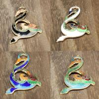 Cloisonné Anhänger, Drachen, 24 K vergoldet, keine, 50x30mm, Bohrung:ca. 1mm, 10PCs/Tasche, verkauft von Tasche