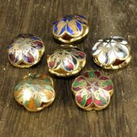 Cloisonne Perlen, Cloisonné, Blume, 24 K vergoldet, Mehrloch-, keine, 12mm, Bohrung:ca. 2mm, 10PCs/Tasche, verkauft von Tasche