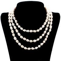 Süßwasserperlen Pullover Halskette, Natürliche kultivierte Süßwasserperlen, mit Zinklegierung, für Frau & 3-Strang, weiß, 7-10mm, verkauft per ca. 51.5 ZollInch Strang