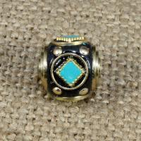 Indonesien Perlen, mit Synthetische Türkis & Messing, Rondell, 13x13mm, Bohrung:ca. 1-2mm, 10PCs/Tasche, verkauft von Tasche