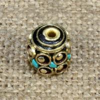 Indonesien Perlen, mit Synthetische Türkis & Messing, Trommel, 11x11mm, Bohrung:ca. 1-2mm, 10PCs/Tasche, verkauft von Tasche