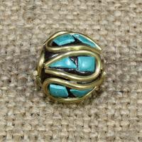 Indonesien Perlen, mit Synthetische Türkis & Messing, rund, 12x12mm, Bohrung:ca. 1-2mm, 10PCs/Tasche, verkauft von Tasche