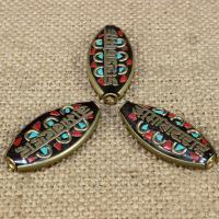 Indonesien Perlen, mit Synthetische Türkis & Messing, flachoval, om mani padme hum, 30x15mm, Bohrung:ca. 1-2mm, 10PCs/Tasche, verkauft von Tasche