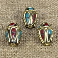 Indonesien Perlen, mit Synthetische Türkis & Messing, Tropfen, 18x13mm, Bohrung:ca. 1-2mm, 10PCs/Tasche, verkauft von Tasche