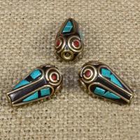 Indonesien Perlen, mit Synthetische Türkis & Messing, Tropfen, 20x10mm, Bohrung:ca. 1-2mm, 10PCs/Tasche, verkauft von Tasche