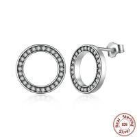 925 Sterling Silber Ohrstecker, Kreisring, Micro pave Zirkonia & für Frau, 11x11mm, verkauft von Paar