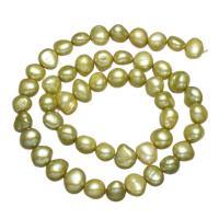 Natürliche Süßwasser, lose Perlen, Natürliche kultivierte Süßwasserperlen, Barock, grasgrün, 8-9mm, Bohrung:ca. 0.8mm, verkauft per ca. 15 ZollInch Strang