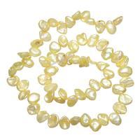 Natürliche Süßwasser, lose Perlen, Natürliche kultivierte Süßwasserperlen, gelb, 6-9mm, Bohrung:ca. 0.8mm, verkauft per ca. 15 ZollInch Strang