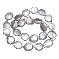 Keshi kultivierte Süßwasserperlen, Natürliche kultivierte Süßwasserperlen, Knopf, grau, 15mm, Bohrung:ca. 0.8mm, verkauft per ca. 15 ZollInch Strang