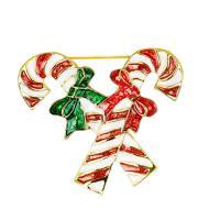 Weihnachten Broschen, Zinklegierung, Weihnachten Zuckerstange, goldfarben plattiert, Weihnachtsschmuck & für Frau & Emaille, frei von Nickel, Blei & Kadmium, 42x40mm, verkauft von PC