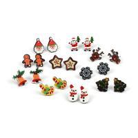 Weihnachten Ohrringe, Acryl, mit Zinklegierung, plattiert, Weihnachtsschmuck & für Frau, 15mm, 10PaarePärchen/setzen, verkauft von setzen
