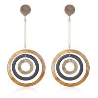 Acryl Tropfen Ohrring, mit Kunststoff Ohrmutter & Zinklegierung, Edelstahl Stecker, Kreisring, goldfarben plattiert, für Frau, keine, frei von Blei & Kadmium, 115x54mm, verkauft von Paar