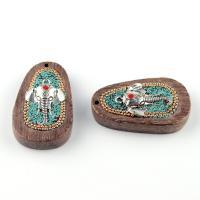 Holz Anhänger, mit Indonesien & Zinklegierung, Elephant, antik silberfarben plattiert, 53x32mm, Bohrung:ca. 1-2mm, verkauft von PC