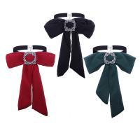 Krawatte, Chiffon, mit Zinklegierung, metallschwarz plattiert, für Frau & mit Strass, keine, frei von Nickel, Blei & Kadmium, 240x340mm, Länge:ca. 11.8 ZollInch, verkauft von PC