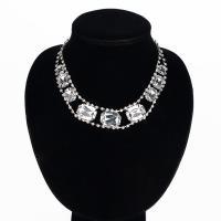 Glasperlen Halsketten, Zinklegierung, mit Glas, Platinfarbe platiniert, für Frau, frei von Blei & Kadmium, 25x20mm, verkauft per ca. 16 ZollInch Strang