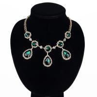 Glasperlen Halsketten, Zinklegierung, mit Glas, goldfarben plattiert, für Frau & facettierte, frei von Blei & Kadmium, 25x60mm, verkauft per ca. 15.5 ZollInch Strang