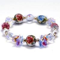 Österreichischer Kristall Armband, mit Ton & Natürliche kultivierte Süßwasserperlen & Lampwork, für Frau & facettierte, 14mm, verkauft per ca. 6 ZollInch Strang