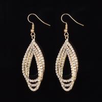 Strass Ohrring, Zinklegierung, Eisen Haken, plattiert, für Frau & mit Strass, keine, frei von Blei & Kadmium, 10-25mm, verkauft von Paar