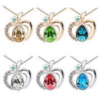 Kristall Zinklegierung Halskette, mit Kristall, mit Verlängerungskettchen von 1.9inch, Apfel, plattiert, Kastenkette & für Frau & mit Strass, keine, 18x19mm, verkauft per ca. 15.7 ZollInch Strang