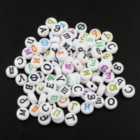 Alphabet Acryl Perlen, flache Runde, Buchstaben sind von A bis Z & gemischtes Muster & verschiedene Muster für Wahl, 7x4mm, Bohrung:ca. 1mm, ca. 2800PCs/Tasche, verkauft von Tasche