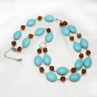 Synthetische Türkis Halskette, mit Kristall & Zinklegierung, mit Verlängerungskettchen von 4cm, für Frau & facettierte, blau, 15x20x8mm, verkauft per ca. 19.5 ZollInch Strang