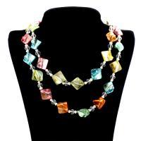 Muschel Pullover Halskette, mit Natürliche kultivierte Süßwasserperlen & Kristall, Rhombus, für Frau & facettierte, 8mm, verkauft per ca. 39 ZollInch Strang