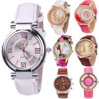 Geneva® Frauenuhr, PU Leder, mit Glas & Zinklegierung, plattiert, für Frau & mit Strass, keine, 37mm, Länge:ca. 9.5 ZollInch, verkauft von PC