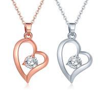 Messing Halskette, mit Verlängerungskettchen von 5cm, Herz, plattiert, Oval-Kette & für Frau & mit Strass, keine, frei von Nickel, Blei & Kadmium, 15mm, verkauft per ca. 15 ZollInch Strang