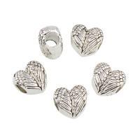 Zinklegierung Herz Perlen, Geflügelte Herzen, antik silberfarben plattiert, großes Loch, frei von Blei & Kadmium, 11.50x11x7mm, Bohrung:ca. 5mm, 10PCs/Tasche, verkauft von Tasche