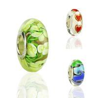 Lampwork Perlen European Stil, mit 925 Sterling Silber, Rondell, handgemacht, mit 925 logo & verschiedene Muster für Wahl, 8x15x4.5mm, Bohrung:ca. 5mm, verkauft von PC