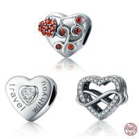 Thailand European Perlen, Herz, verschiedene Stile für Wahl & mit Brief Muster & ohne troll & mit kubischem Zirkonia, 10x11mm, Bohrung:ca. 4.5-5mm, verkauft von PC
