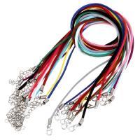 Wollschnur Halskette Schnur, Eisen Karabinerverschluss, mit Verlängerungskettchen von 1.5Inch, silberfarben plattiert, unisex, keine, 2mm, Länge:ca. 19 ZollInch, 10SträngeStrang/Menge, verkauft von Menge