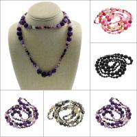 Achat Halskette, rund, verschiedenen Materialien für die Wahl & für Frau & facettierte, 14mm, verkauft per ca. 33 ZollInch Strang
