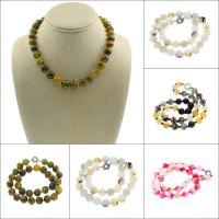 Achat Halskette, Drachenvenen Achat, Messing Federring Verschluss, rund, keine, 12mm, verkauft per ca. 17.3 ZollInch Strang