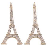 Zinklegierung Gebäude Anhänger, Eiffelturm, goldfarben plattiert, mit Strass, frei von Blei & Kadmium, 35x73x5mm, Bohrung:ca. 3x10mm, verkauft von PC