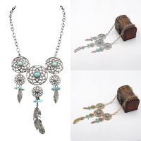 Mode Türkis Halskette, Zinklegierung, mit Eisenkette & Synthetische Türkis, mit Verlängerungskettchen von 5cm, plattiert, Rolo Kette & für Frau, keine, frei von Blei & Kadmium, 37cm, verkauft per ca. 15 ZollInch Strang
