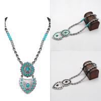 Mode Türkis Halskette, Zinklegierung, mit Eisenkette & Synthetische Türkis, mit Verlängerungskettchen von 5cm, antik silberfarben plattiert, für Frau, keine, frei von Blei & Kadmium, 56cm, verkauft per ca. 22 ZollInch Strang