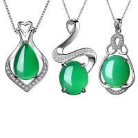 Grüne Chalzedone Anhänger, 925 Sterling Silber, mit Grüner Chalcedon, verschiedene Stile für Wahl & Micro pave Zirkonia, Bohrung:ca. 3-5mm, verkauft von PC
