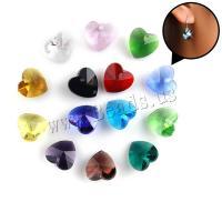KRISTALLanhänger, Kristall, Herz, facettierte, mehrere Farben vorhanden, 13.90x14x7.70mm, Bohrung:ca. 1mm, 10PCs/Tasche, verkauft von Tasche