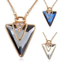 Messing Pullover Halskette, mit Österreichischer Kristall, mit Verlängerungskettchen von 5cm, Dreieck, vergoldet, Schlangekette & für Frau & facettierte, keine, frei von Nickel, Blei & Kadmium, 42x55mm, verkauft per ca. 31.5 ZollInch Strang