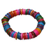 Muschel Schmuck Armband, flache Runde, für Frau, farbenfroh, 11x2mm, verkauft per ca. 7 ZollInch Strang