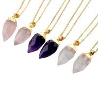 Quarz Halskette, Natürlicher Quarz, goldfarben plattiert, verschiedenen Materialien für die Wahl & unisex & Oval-Kette & facettierte, 12x24mm, verkauft per ca. 17.5 ZollInch Strang